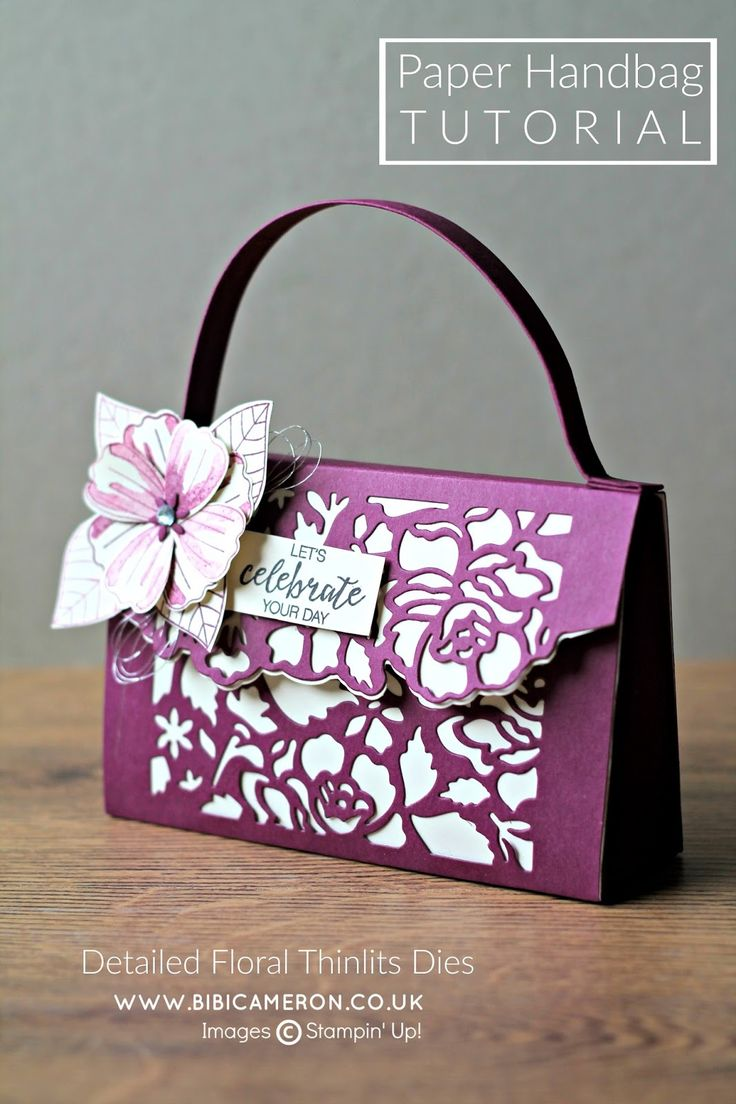 Paper handbag made with Stampin Up Detailed Floral / Floral Phrases bundle. Tutorial & video in link By Bibi Cameron