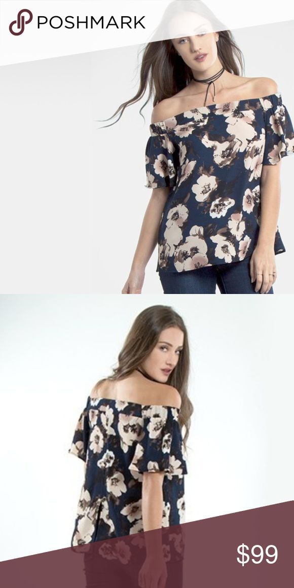 """Blooms in the City Floral Off-Shoulder Bardot Top 100% new boutique item.   Chic bardot top made in a woven bubble crepe fabrication. Features a gorgeous print, off shoulder design, and back split for comfort. Small: 22"""" total length  Sizes available: S, M, L Material: 97% polyester, 3% spandex  Color: Navy  Measurements:  (S)  (M)  (L)  Colors may vary slightly from photos No trades Bundle 2 or more items for 15% off Made in USA  *Photos of actual product and more details/measurements will…"""