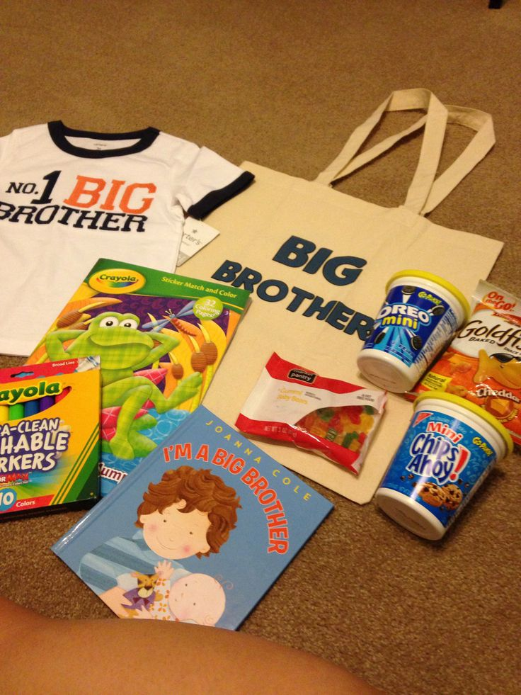 Big Brother Kit! Jacob will have snacks and stuff to keep him occupied when he visits baby brother at the hospital!