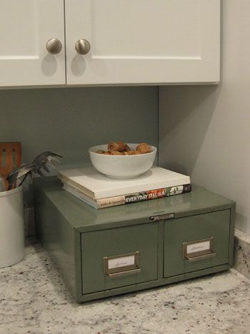 Metal card catalog repurposed into spice drawer....recipe cards would be great to!