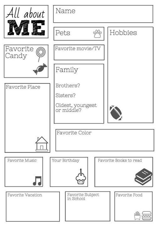 All About Me printable. Link does not seem to be active anymore, but this can still be printed in Word. Cute idea!