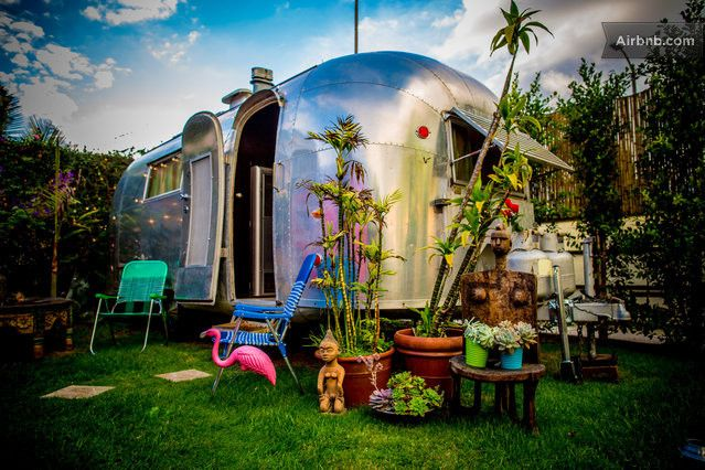 The exact airstream and colorful house and camper we rented {possibly guys getting ready and first looks}