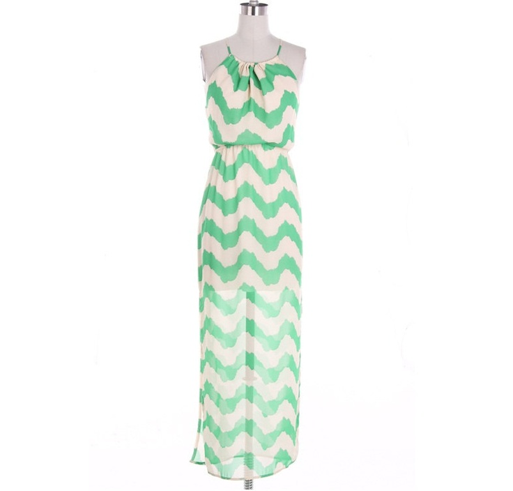 Mint Chevron Maxi Dress Causal Maxi Dress Long by LemniscateAddict, $45.99