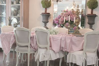 PRETTY IN PINK TABLE -   An old farmhouse table draped in shabby pink linen  Set with a petite stack of my grandmothers vin...