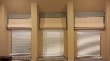 Soft Fold Roman Shades with Seat Cushions - southwestern - Home Theater - Dallas - iDesign Interiors, LLC