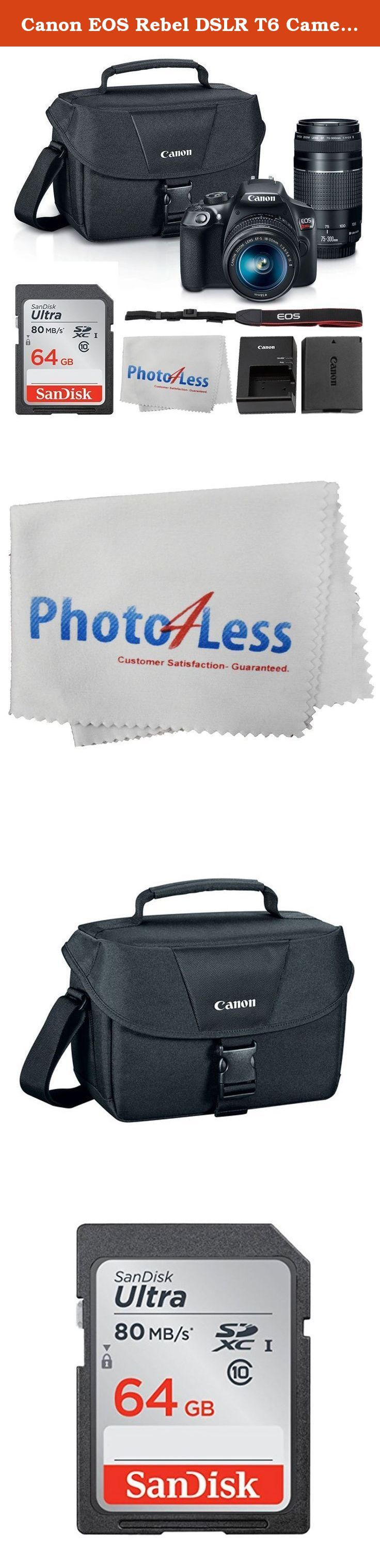 Canon EOS Rebel DSLR T6 Camera Body + Canon EF-S 18-55mm IS II Lens & EF 75-300mm III Lens + Canon EOS Shoulder Bag (Black) + SanDisk SDXC 64GB Memory Card + Cleaning Cloth + Ultimate Canon Bundle. In the Box: Canon EOS Rebel T6 DSLR Camera - Canon EF-S 18-55mm f/3.5-5.6 IS II Lens - Canon EF 75-300mm f/4-5.6 III Lens - LP-E10 Lithium-Ion Battery Pack - LC-E10 Battery Charger - Eyecup Ef for Digital Rebel Cameras - RF-3 Body Cap for Canon EOS Cameras - EW-400D Neck Strap - Battery Cover...