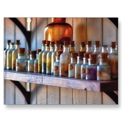 Reagent bottles.