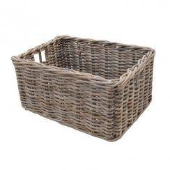 Rectangular Grey & Buff Rattan Deep Wicker Storage Baskets