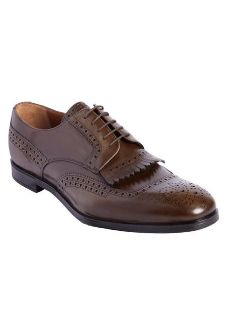 PRADA Kilted vamp perforated apron toe blucher $399 Sale  #PRADA #SHOES #BROGUE #FOR #GENTLEMEN #BARNEYS