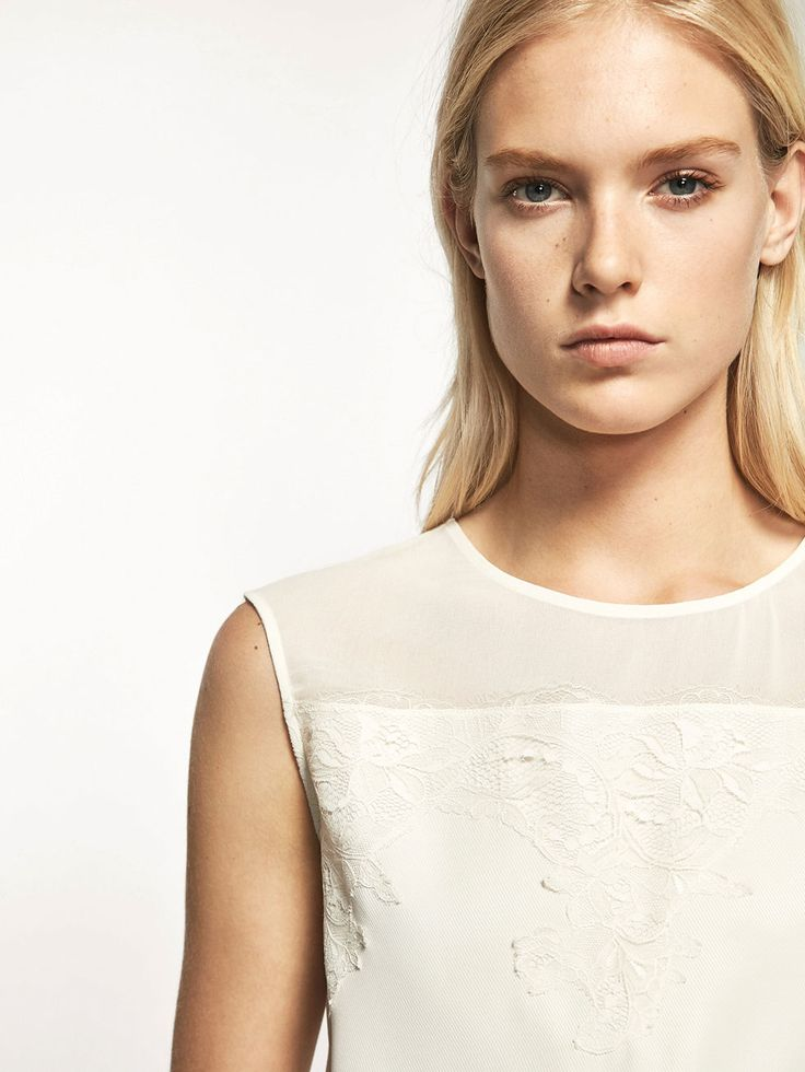 Autumn Spring summer 2017 Women´s CONTRAST T-SHIRT WITH BLOND LACE DETAIL at Massimo Dutti for 49.5. Effortless elegance!