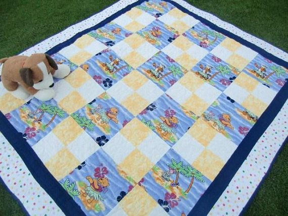 Hawaiian Winnie The Pooh Quilt Tropical Nursery Decor Tigger Piglet Crib Blanket Baby Shower