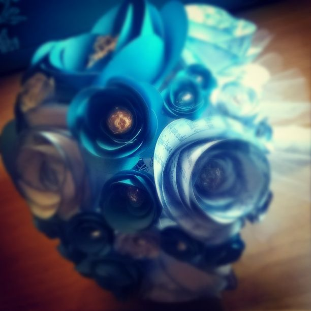 Malibu blue and white with printing paper flower bouquet available from AJ's Craft Creations. https://www.facebook.com/ajs.craft.creations
