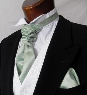 s or Boys Scrunchie Cravat Sage Green Matching hankie available (Mens Cravat Only)