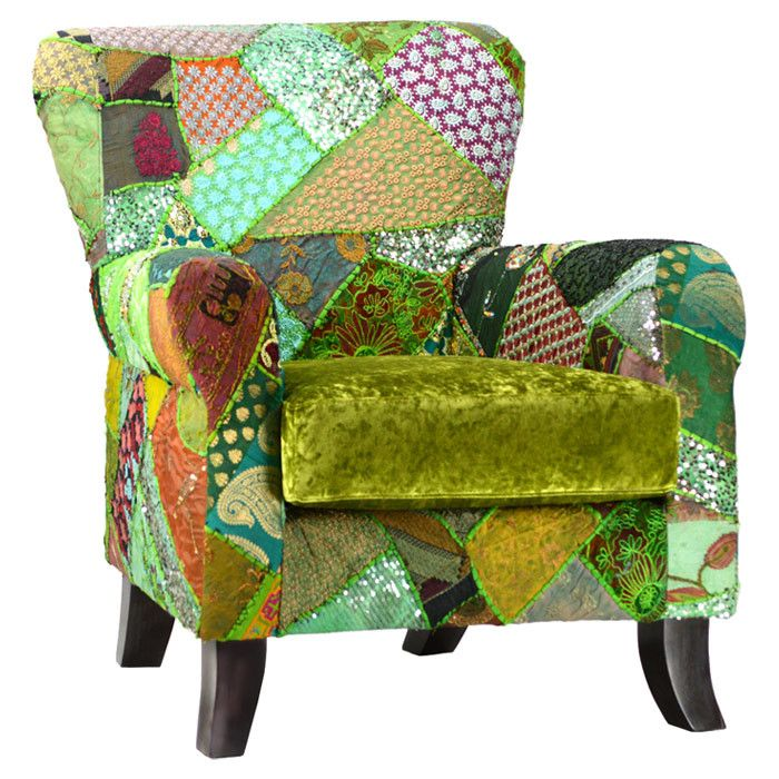 Janis Arm Chair in boho green patchwork!!!