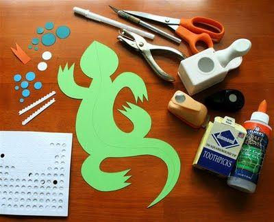 3D Paper Lizard {Craft Camp} | Skip To My Lou