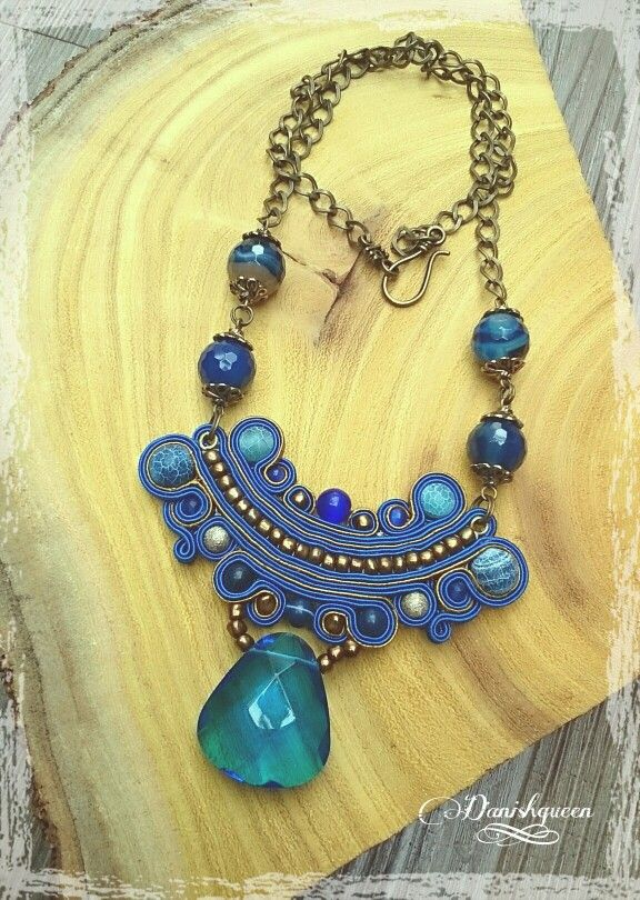 Blue soutache necklace by Danishqueen