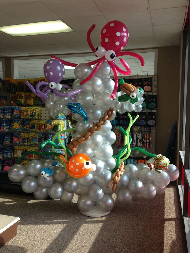 7 39 ocean themed anchor balloon column add one of these to for Anchor balloon decoration