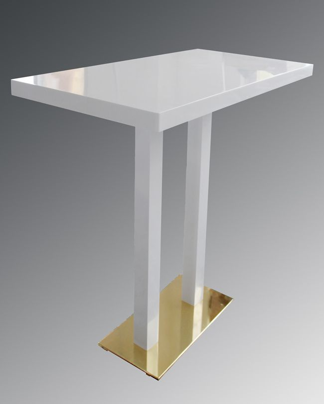 White Bar Table With Double Pole Base And Solid Surface Top TW MATB 104