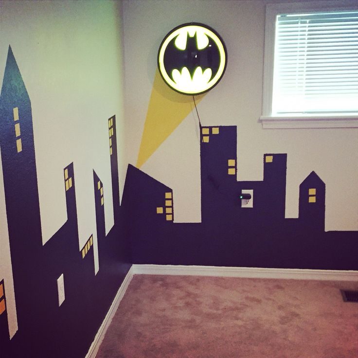 Gotham city skyline that i painted for my son 39 s batman for Batman kinderzimmer