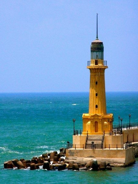 Alexandria, Egypt, lighthouse  sand sea,and this unusal lighthouse the waves around it makes it even more romantic and so special