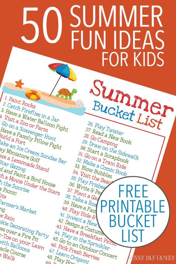 50 easy and fun summer activities for kids plus a FREE printable Summer Bucket List! Keep the kids entertained all summer long with this classic list of summer activities. Love these ideas for family fun!