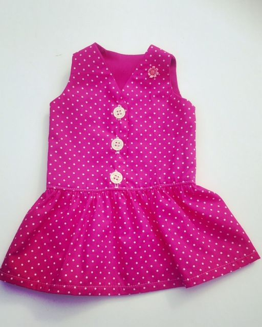 Cerise pink and white polkadot dress for an 18 inch doll
