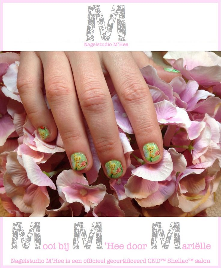 M'Hee CND™ SHELLAC™ brand 14+ day nail color Mint Convertible met additives en tinkerbell foils