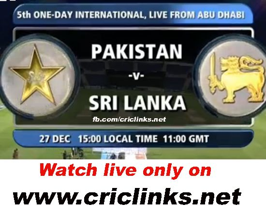 27th December,Friday 5th ODI will be played between Pakistan vs Sri lanka will be played at Abu Dhabi.pakistan 5 match seris by 3-1 they already win the seris and they want to win 4-1.other hand sri lanka will play for pride.Match will be start 4.00 PM PST 4.30 IST,To watch live action please vist http://www.criclinks.net/