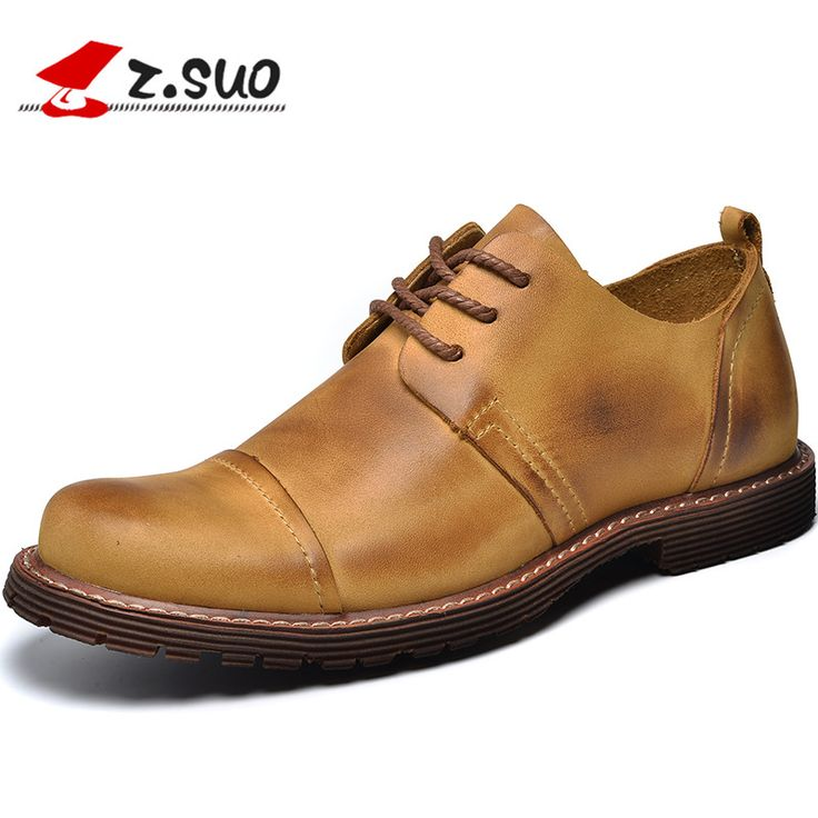 Z.Suo 2017 Spring Autumn Fashion Men's Genuine Cow Leather Casual Shoes Man England Retro Business Leisure Shoes 39-44 ZS2310