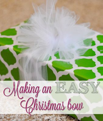 Really easy, beautiful way to tie a gift bow with tulle for Christmas presents!