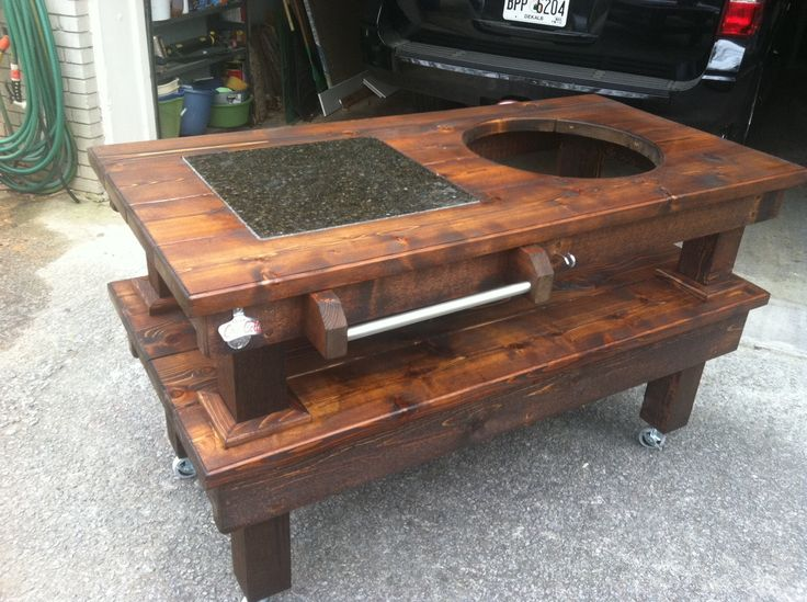 big green egg table plans large | Custom Big Green Egg Table, Walnut & Cedar
