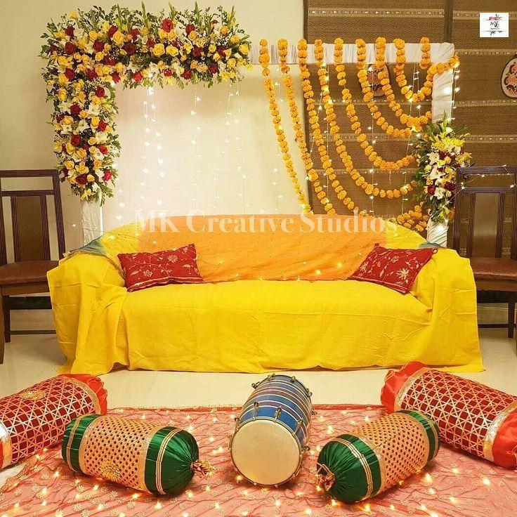 DIY Mayon/Ubtan/Dholki Decor At Home | Mehendi decor ideas ...