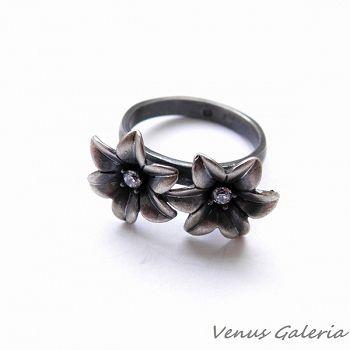 Pierścionek srebrny - Niezapominajki dwie - Sklep internetowy z biżuterią srebrną