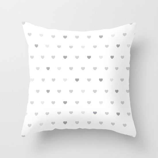 Small grey hearts pattern on white - $24