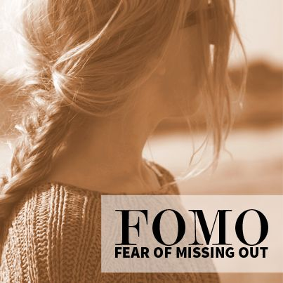 "FOMO - fear of missing out google definition anxiety that an exciting or interesting event may currently be happening elsewhere, often aroused by posts seen on a social media website. - have to use this in short story have someone say FOMO and someone reply ""What?"":"