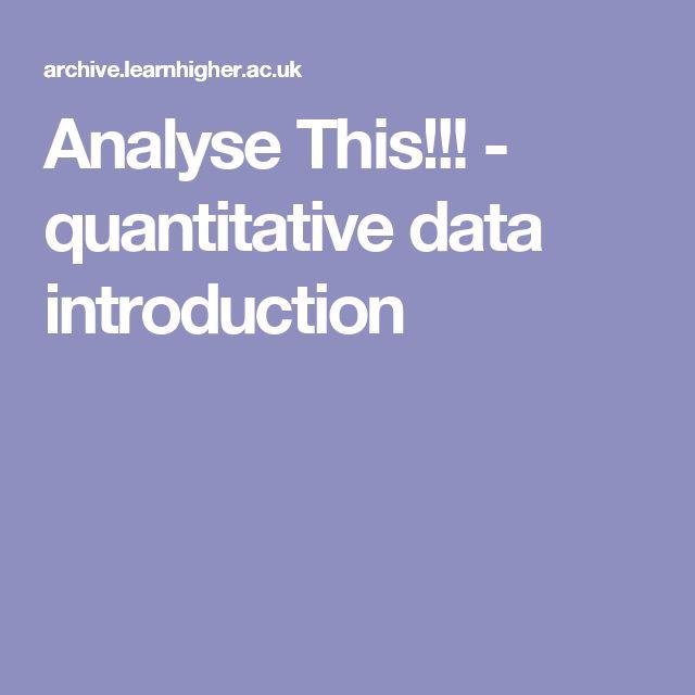 Analyse This!!! - quantitative data introduction