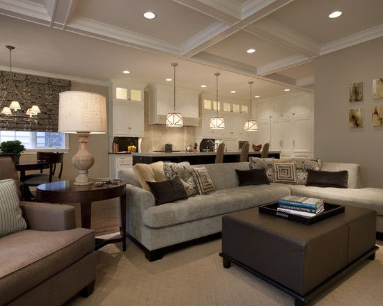 Small Open Plan Kitchen Living Room Design, Pictures, Remodel, Decor and Ideas.  This ottoman/coffeetable is perfect for my living room.