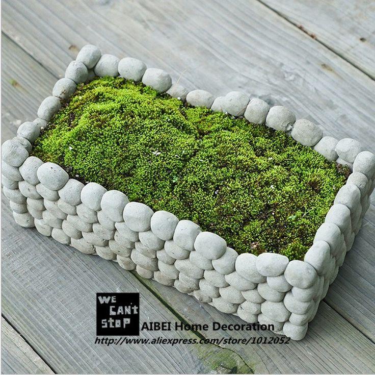 Aibei creative piedra transpirable maceta Micro paisaje cuadrado rectángulo suculentas hidroponía cemento pequeñas macetas de jardín en Maceteros de Plástico de Hogar y Jardín en AliExpress.com | Alibaba Group