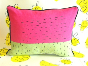 Hand screen printed cushion made with vintage and new fabrics, with black piping www.sarikathakorlal.com