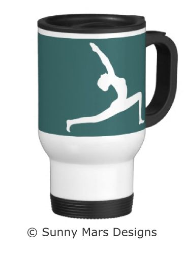 Yoga Pose Silhouette Travel Mug by sunnymars of SunnyMarsDesigns in association with Zazzle. This cool travel mug features the silhouette of a woman practicing yoga.  Click through to see more yoga travel mugs.
