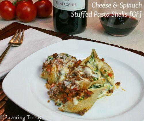 Cheese & Spinach Stuffed Pasta Shells Recipe [Gluten-Free] | Savoring ...