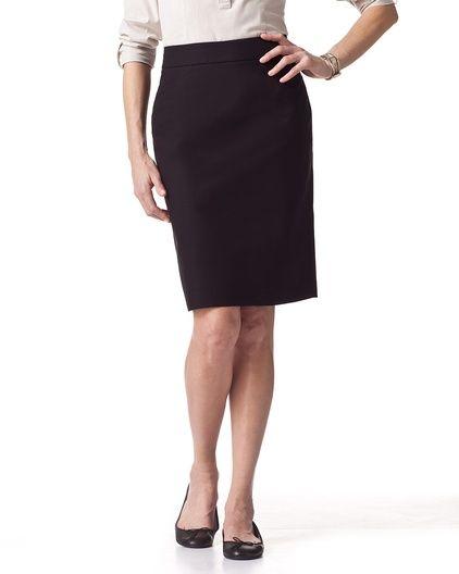 Smooth doubleweave pencil skirt