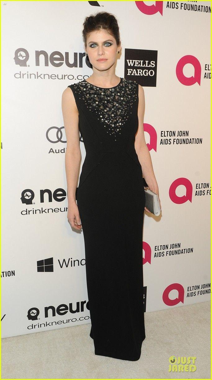 Alexandra Daddario  @ Elton John Oscars Party in a Paule Ke dress