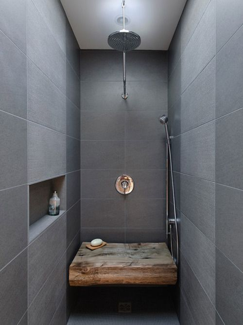 Grey and raw wood shower, saw another one like this but seat was same as the bathroom tiles