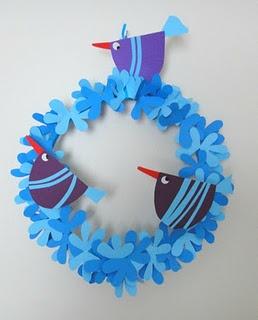 blue paper birds