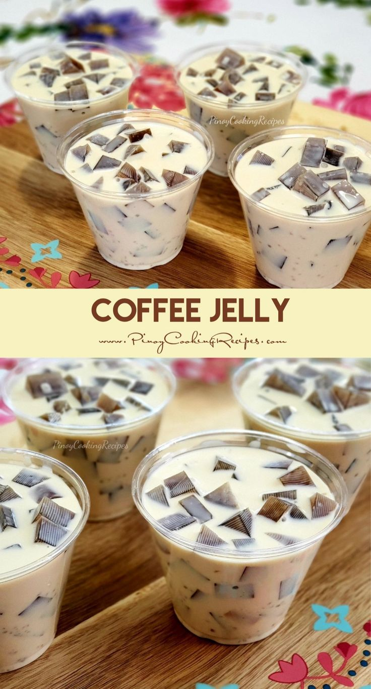 Coffeeflavored gelatin in a coffeeinfused sweetened