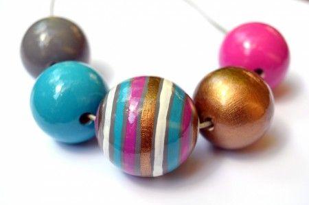 pink#handpainted#necklase#woodenballs
