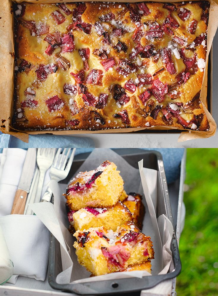 This easy to make rhubarb and custard tray-bake scattered with crushed sugar is perfect with a morning coffee, afternoon tea or as a pudding!