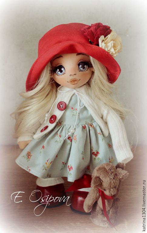 Купить Анечка - голубой, авторская ручная работа, кукла ручной работы, кукла, грунтованный текстиль