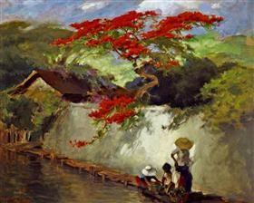 Flamboyant In The Village ~ artist ĀBasuki Abdullah (b1915, Sriwedari, Surakarta, Indonesia)